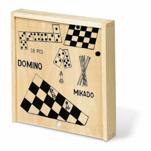 4 games in wooden box in wood