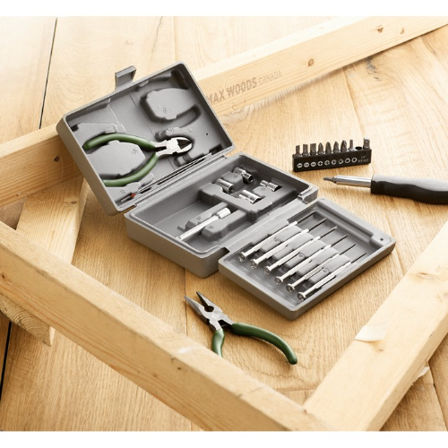 Foldable 25 piece tool set in silver
