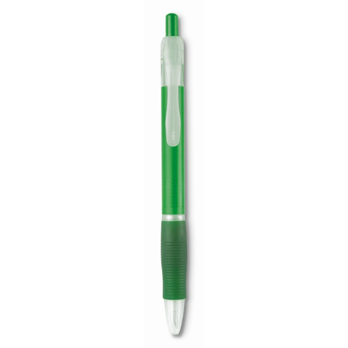 Ball Pen With Rubber Grip in transparent-green