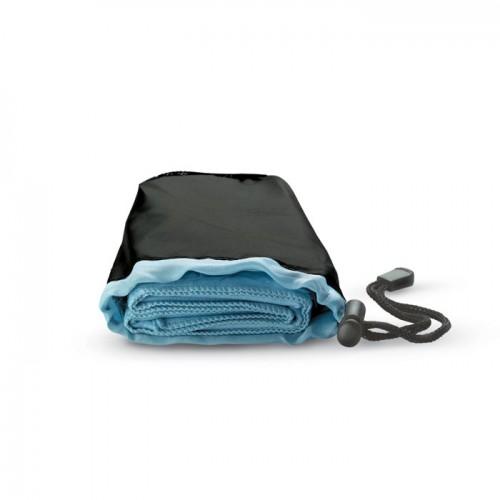 Sport towel in nylon pouch in blue