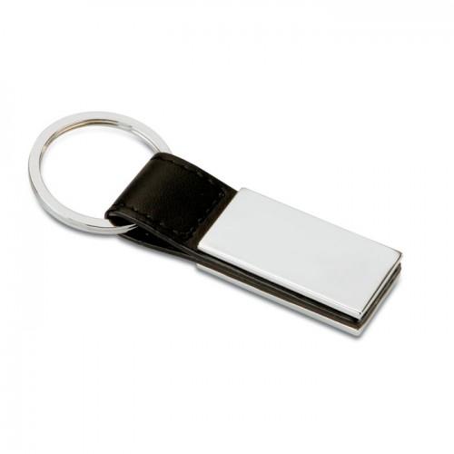 PU and metal key ring           in black