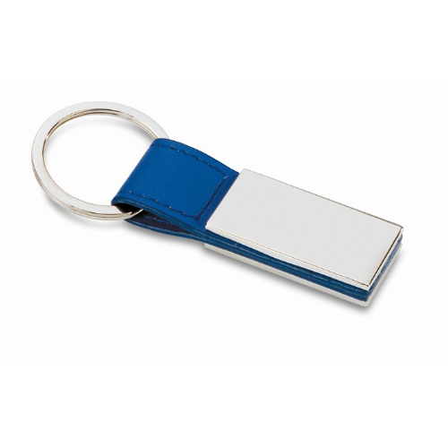 PU and metal key ring           in blue