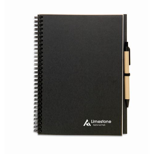 Recycled notebook and ball pen in black