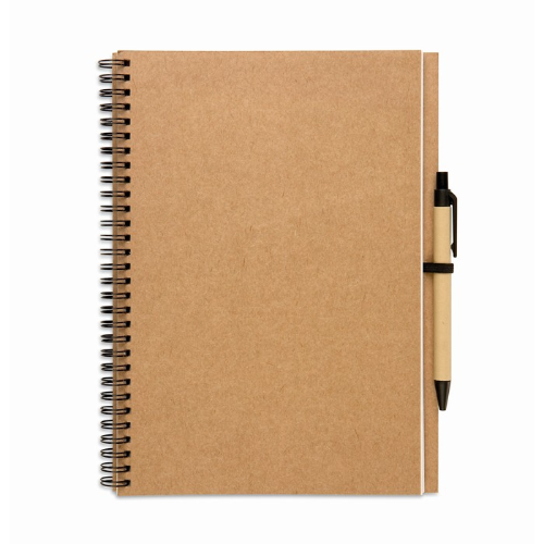 Recycled notebook and ball pen in beige