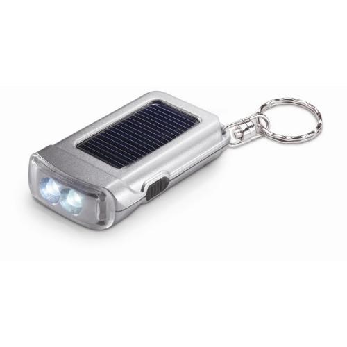 Solar powered torch key ring in matt-silver