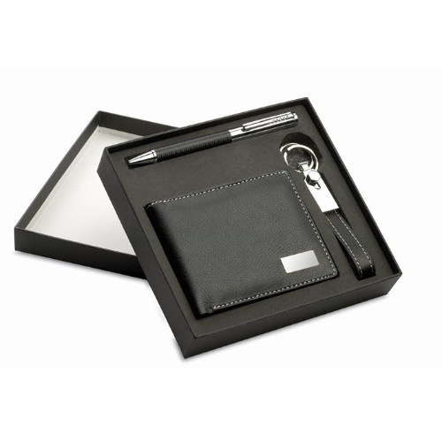 Ball pen key ring and wallet in black