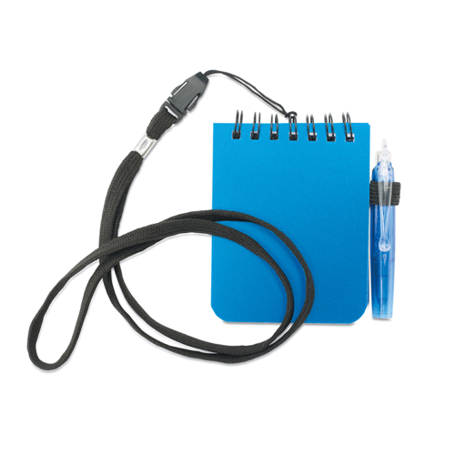 Notebook With Pen And Lanyard in blue