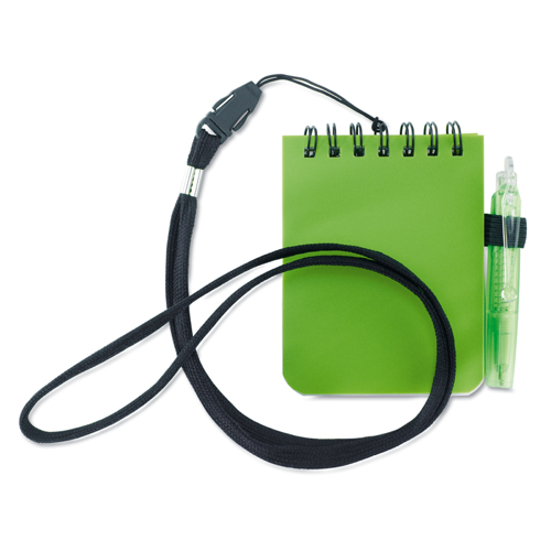 Notebook With Pen And Lanyard in lime