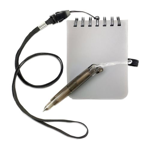 Notebook With Pen And Lanyard in matt-silver