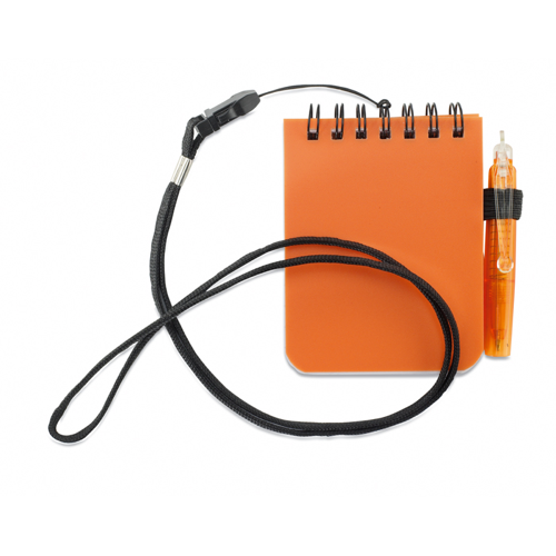 Notebook With Pen And Lanyard in orange