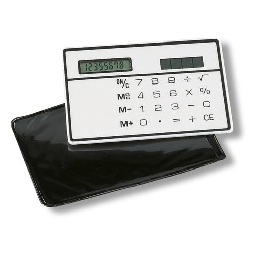 Solar Slim Card Calculator in white