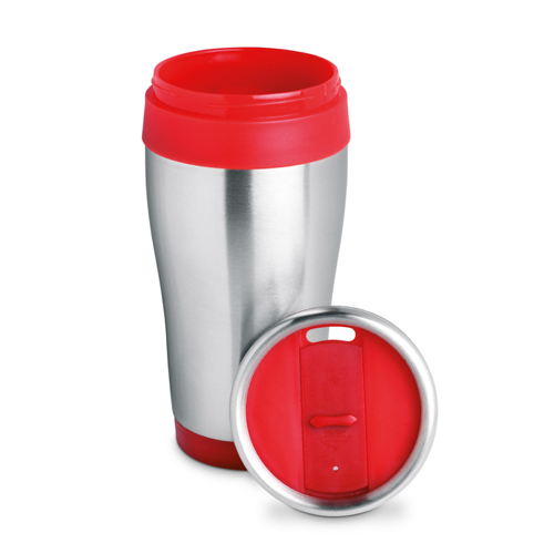 Stainless steel mug in red
