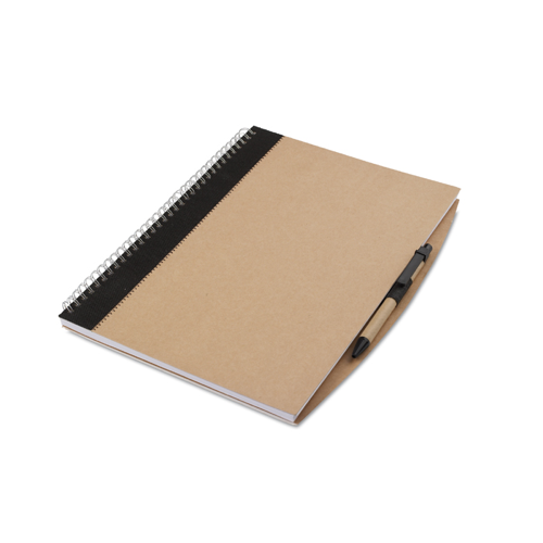 A4 Recycled Notebook With Pen in black