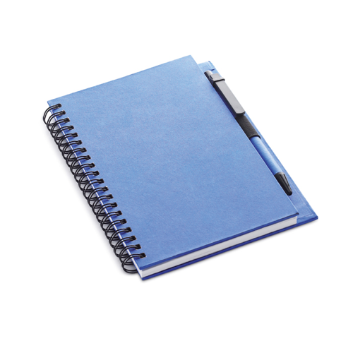 Recycled Paper Block With Pen in blue