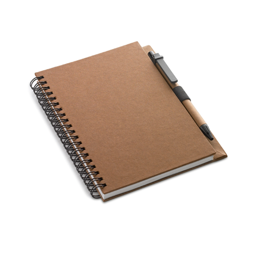 Recycled Paper Block With Pen in brown