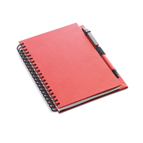 Recycled Paper Block With Pen in red