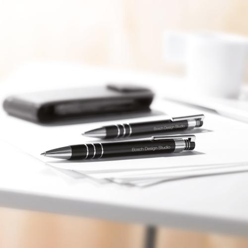 Ball Pen And Pencil In Pouch in matt-silver