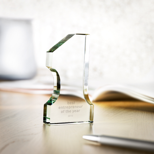 Number One Glass Trophy in transparent