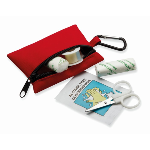 First aid kit w/ carabiner in red