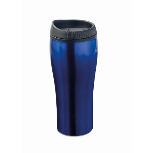 Stainless steel travel cup in blue