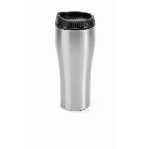 Stainless steel travel cup in matt-silver