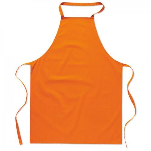 Kitchen apron in cotton         in orange