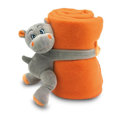 Fleece Blanket With Hippo in orange