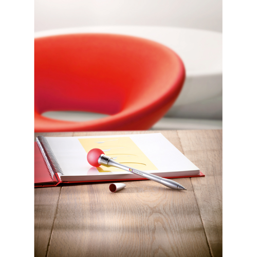 Light Bulb Pen In Silver Barrel in red
