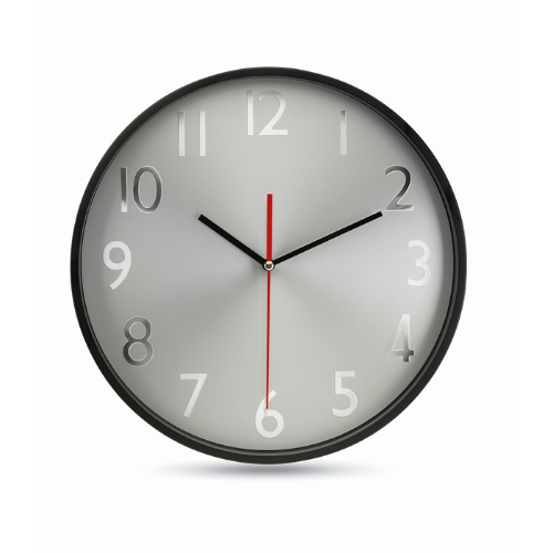 Wall clock w silver background in black