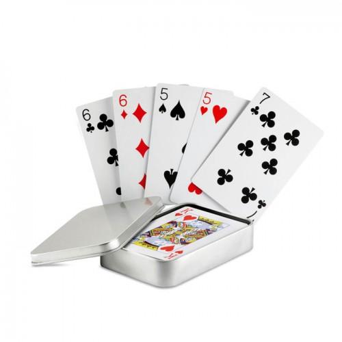 Playing cards in tin box in matt-silver