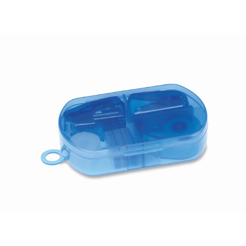 Stationery set in plastic box   in transparent-blue