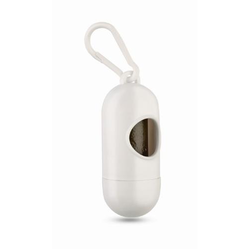 Container for pet bag w/ hook in white