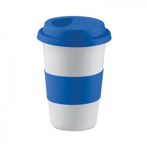 Ceramic mug w/ lid and sleeve in blue