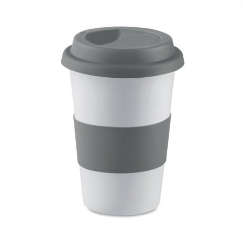 Ceramic mug w/ lid and sleeve in grey