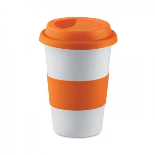 Ceramic mug w/ lid and sleeve in orange
