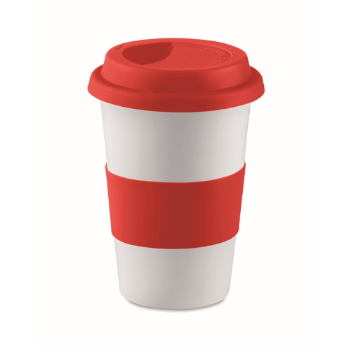 Ceramic mug w/ lid and sleeve in red