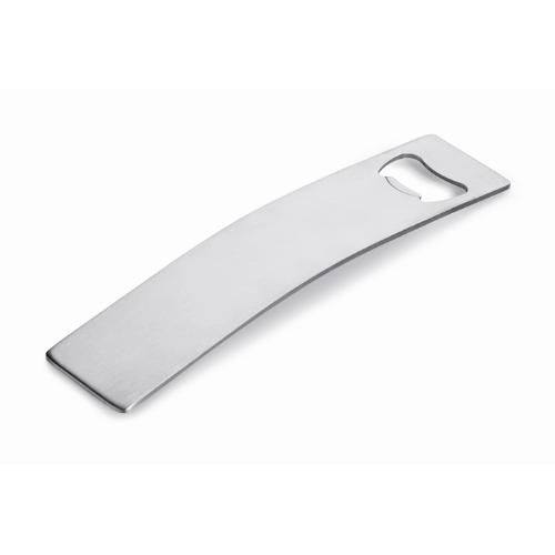 Stainless steel bottle opener in matt-silver