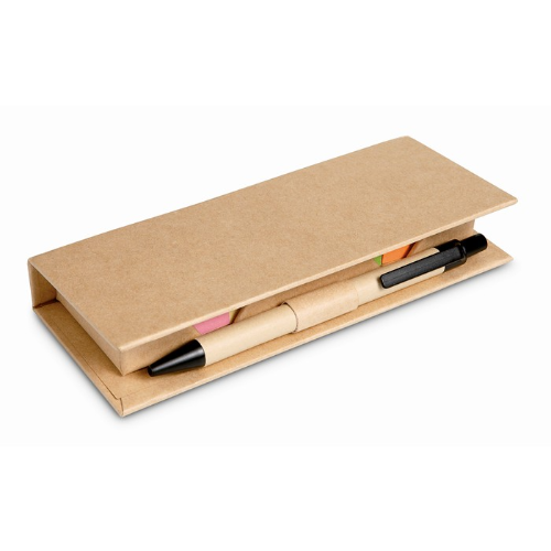 Desk set in brown paper box in beige