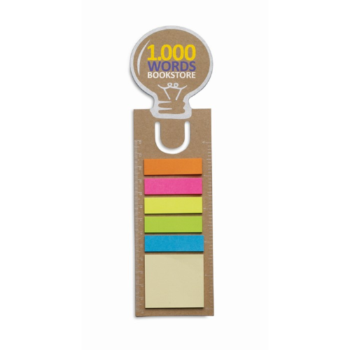 Bookmark with memo stickers in beige