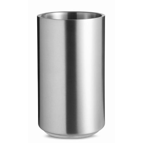 Stainless steel bottle cooler in matt-silver