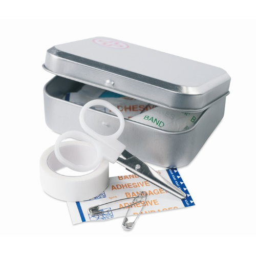 First aid kit in tin box