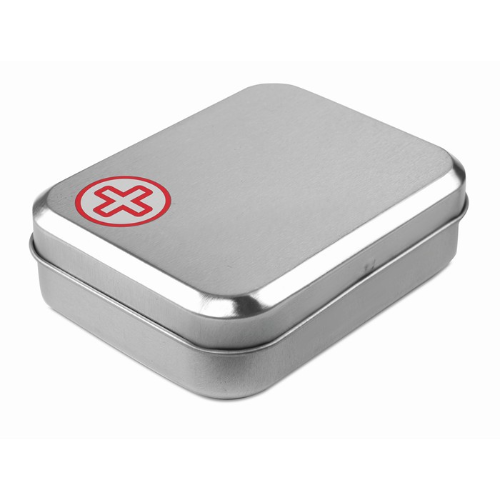 First aid kit in tin box in red