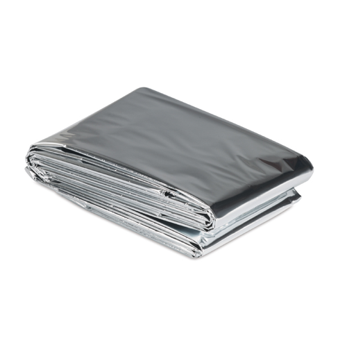 Emergency blanket in shiny-silver