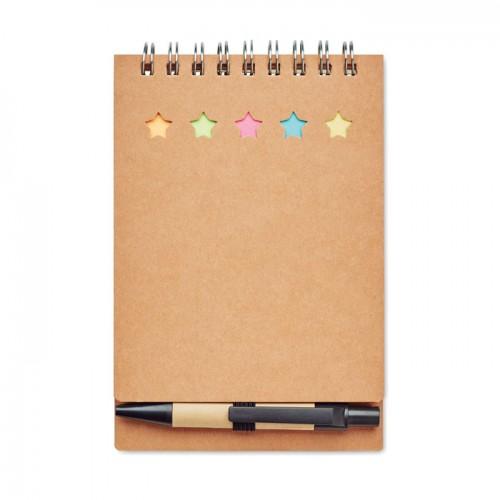 Notebook with pen sticky notes