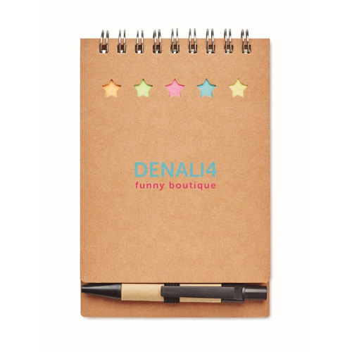 Notebook with pen sticky notes in beige