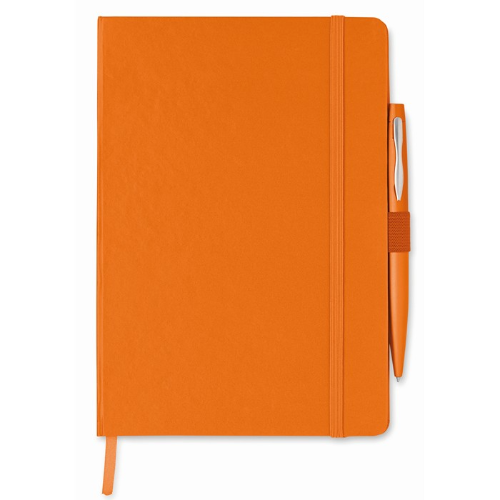 A5 notebook with pen in orange