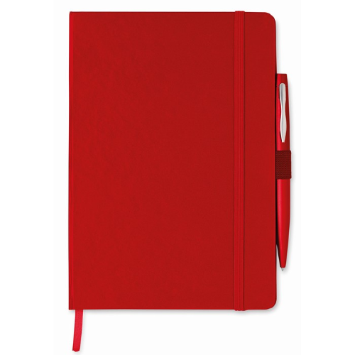 A5 notebook with pen in red