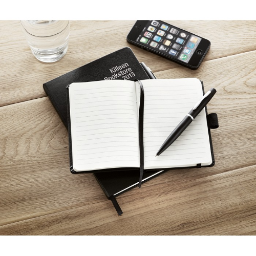 A6 notebook with pen in black