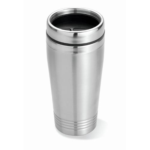 Double wall travel cup in matt-silver