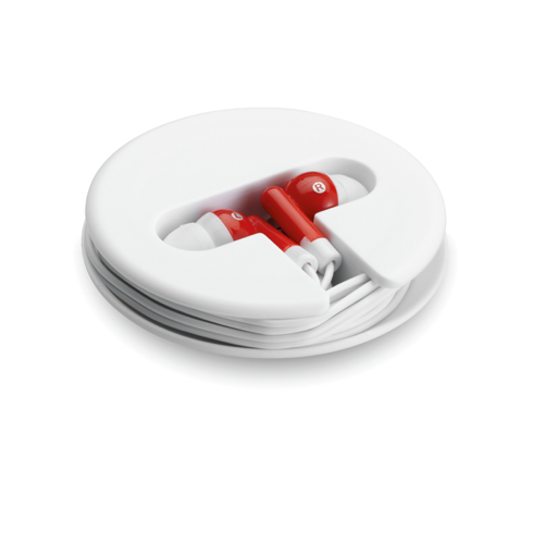 Earphones In Silicone Case in red